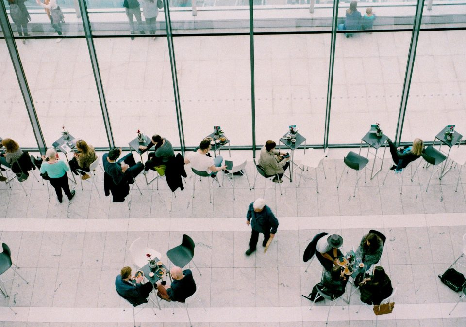 aerial view of people working in an office lobby